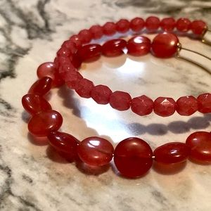 Alex and Ani Beaded Expandable Red Bracelet Set